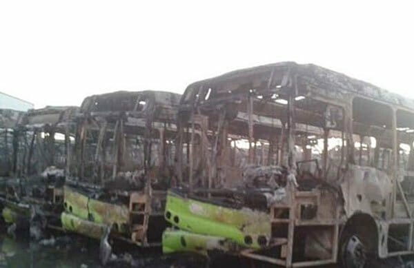 Burned-out buses in Villahermosa