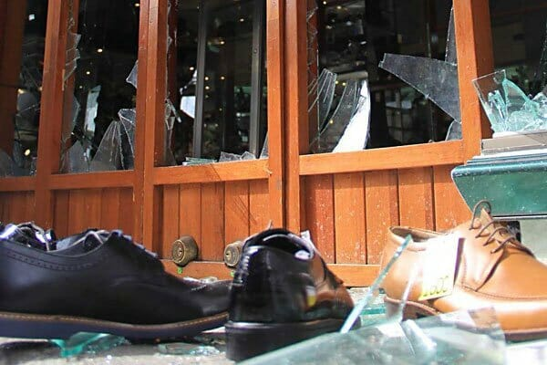 A shoe store was among those looted in Oaxaca city on the weekend