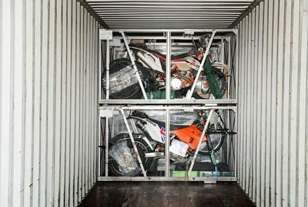 Rally bikes in a container ready for shipping to Baja.