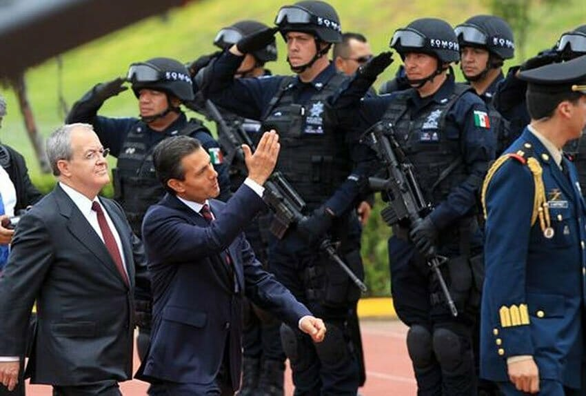 President Peña Nieto inspects the Gendarmerie during its inauguration in 2014.