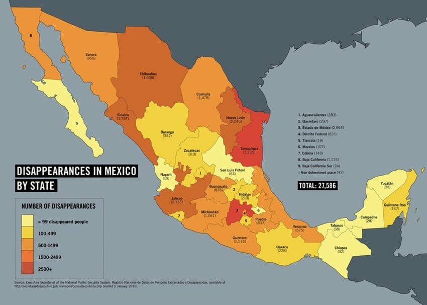 Disappearances by state. The darker the color, the higher the number.