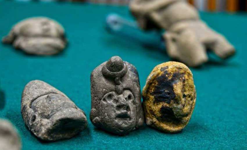 Some of the archaeological pieces that were returned.