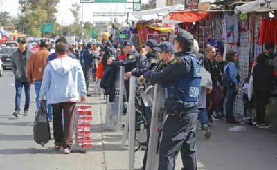 Police on guard: Germany has warned its citizens about travel in Mexico.