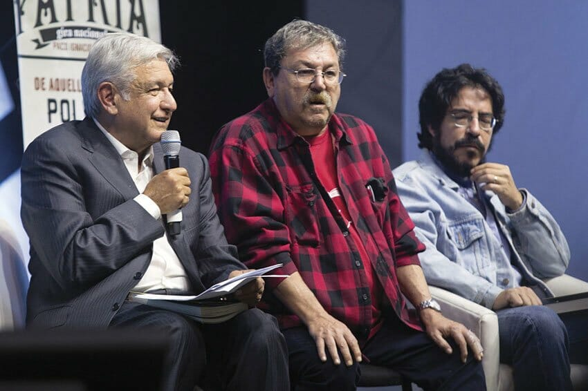 AMLO, left, and Taibo, center: expropriation advocated.