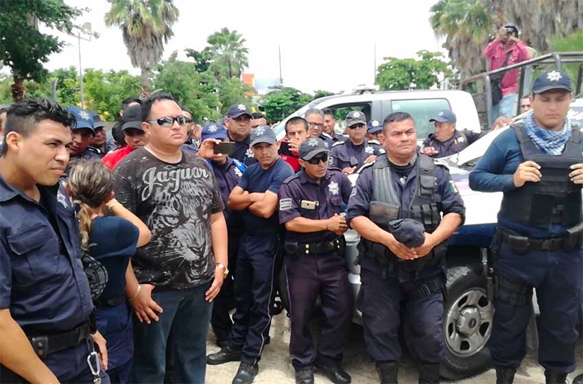 Unhappy police in Cozumel.