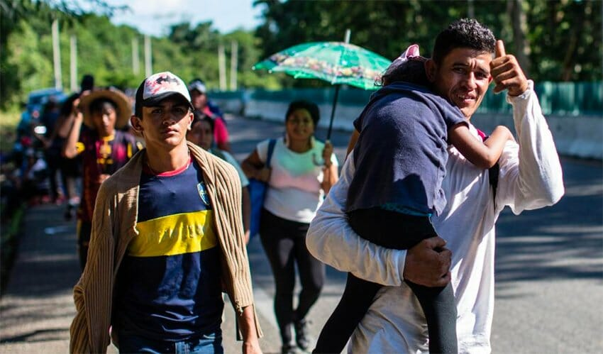 Migrants on the march in Mexico.