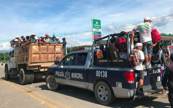 Local authorities and residents of Zanatepec, Oaxaca, pitched in to provide transportation to migrants' caravan.