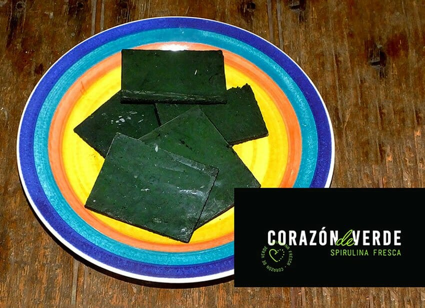 A daily dose of this spirulina consists of two thin rectangles.