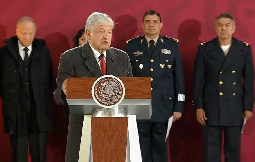López Obrador speaks during his daily press conference.