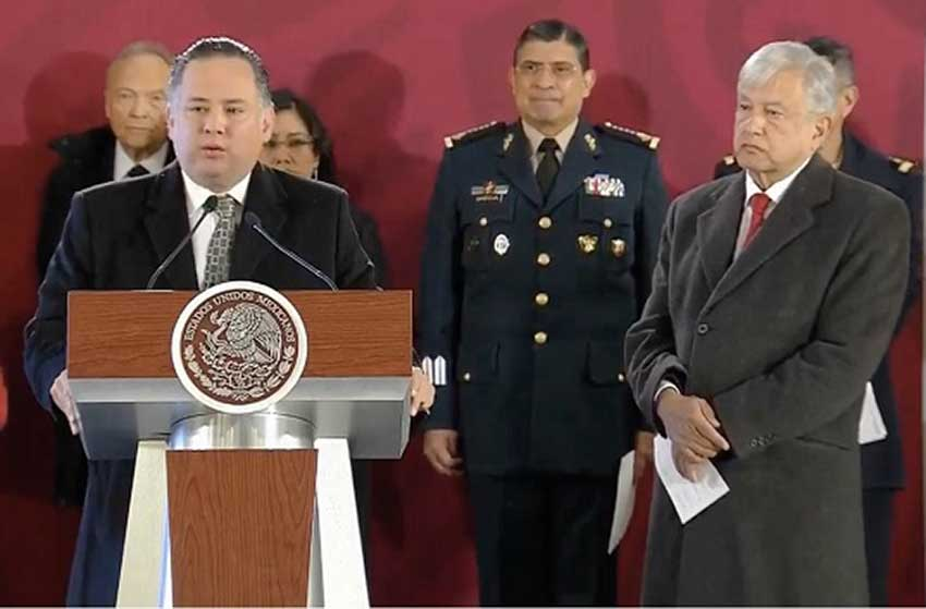Nieto speaks at this morning's press conference as the president looks on.