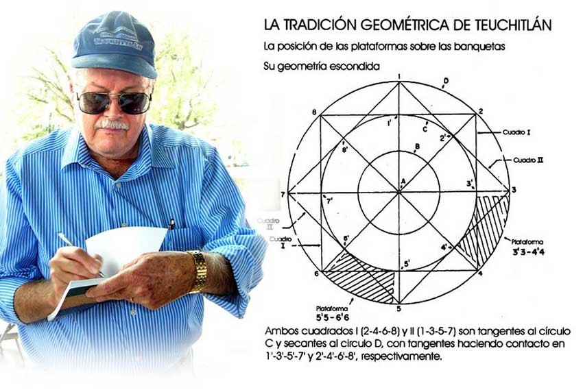 Archaeologist Phil Weigand with his study of the geometry behind the Guachimontones.