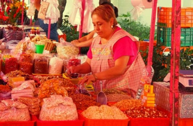 Lilia Hernández has been selling fruits and dried nuts at the market for 40 years.