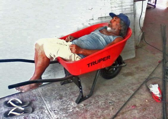 Siesta time at the job site.