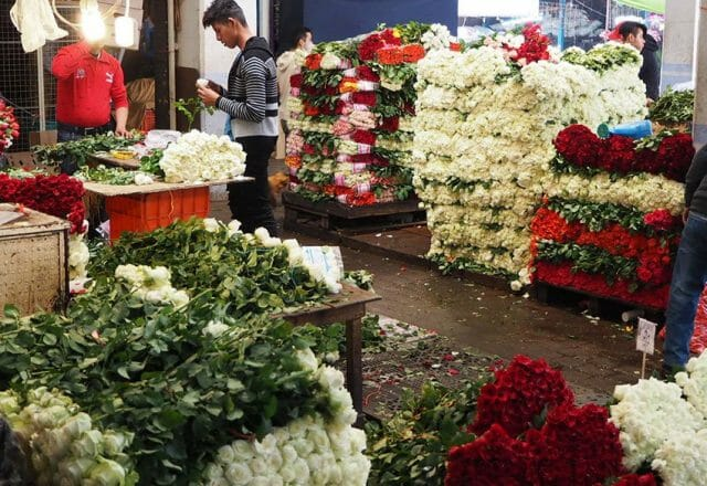Employees work expertly with hands and machetes to break down flowers