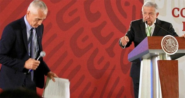 Journalist Ramos, left, with AMLO: unwelcome questions.