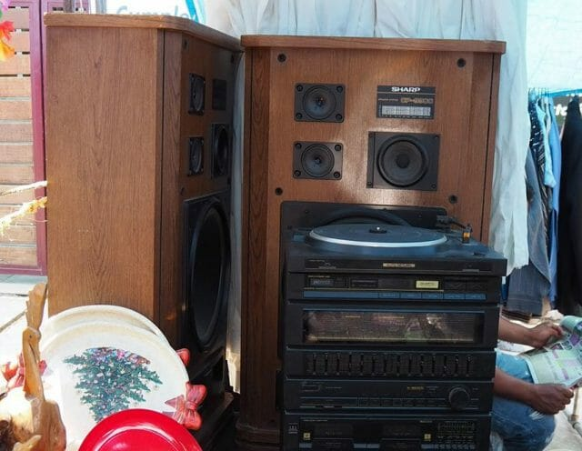 You can find a decent deal on used stereo equipment at the market.