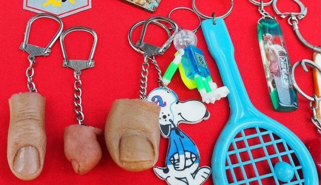 The author's severed big toe (plastic) key chain. He passed on the finger and baby toe.