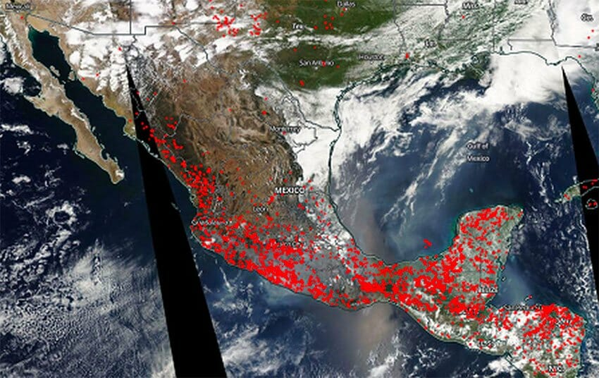 NASA satellite image indicating active wildfires in Mexico.