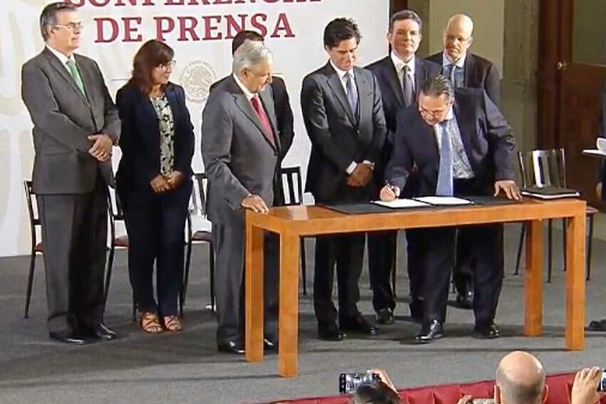 Signing ceremony is to give Pemex some financial relief.