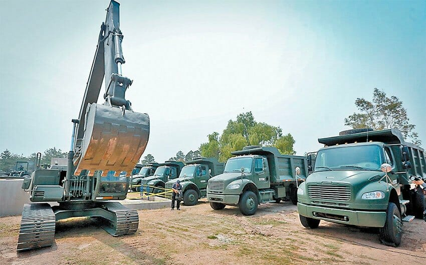 The army's construction equipment at the ready in Santa Lucía.