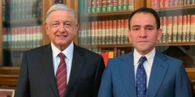 López Obrador and Herrera, his new finance secretary, at the announcement of his appointment.