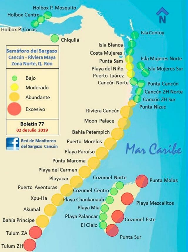 The Sargassum Monitoring Network's map as of yesterday