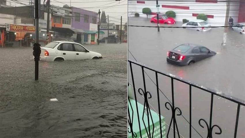 Cars stranded by flooded streets in Atizapán.
