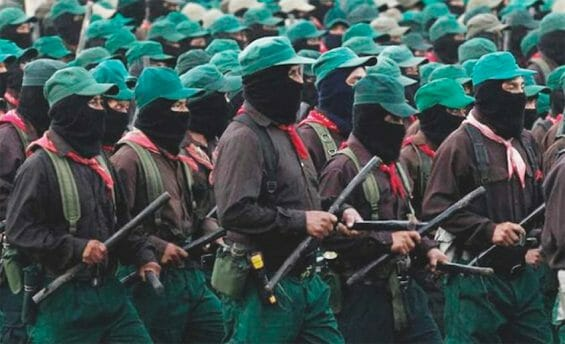 Zapatista soldiers on the march.