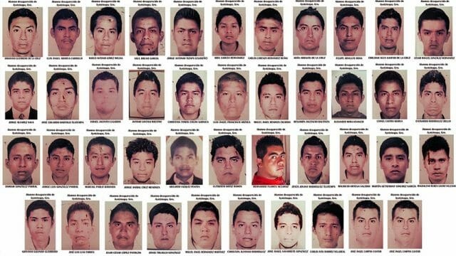 The 43 students who disappeared September 14, 2014 in Guerrero.