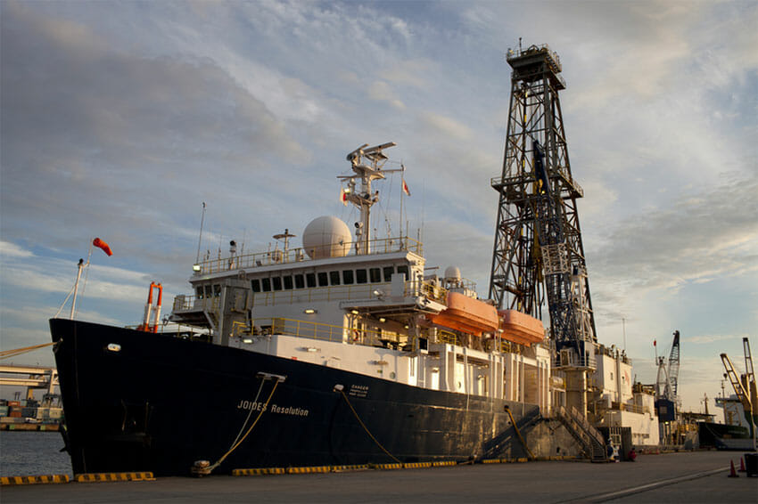 The drilling vessel JOIDES Resolution, now working in the Gulf of California.