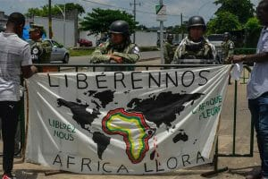 Africa cries on a map in Tapachula.