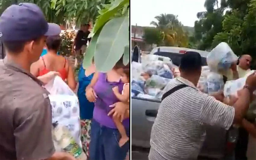 Presumed gang members hand out aid to storm victims in Jalisco.
