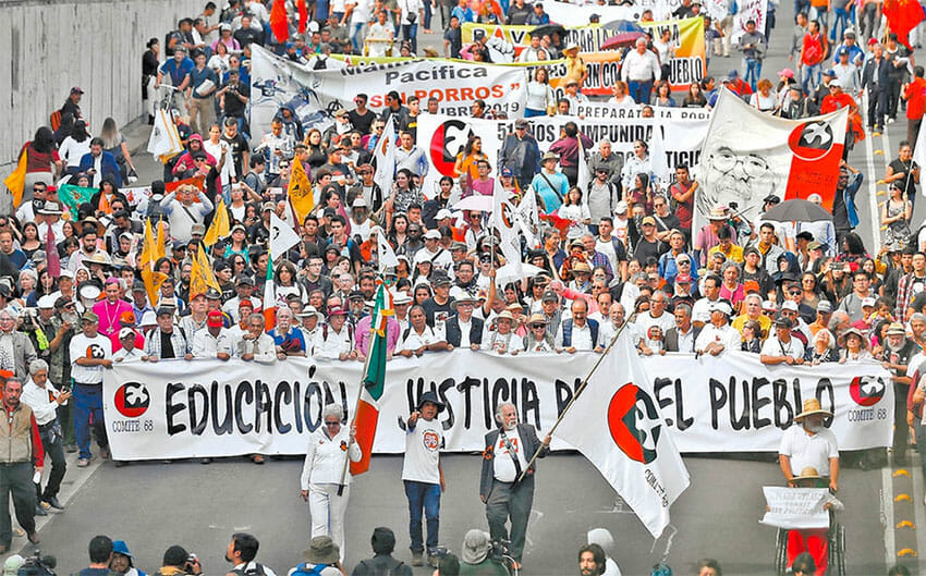 The mostly peaceful march on Wednesday in Mexico City.