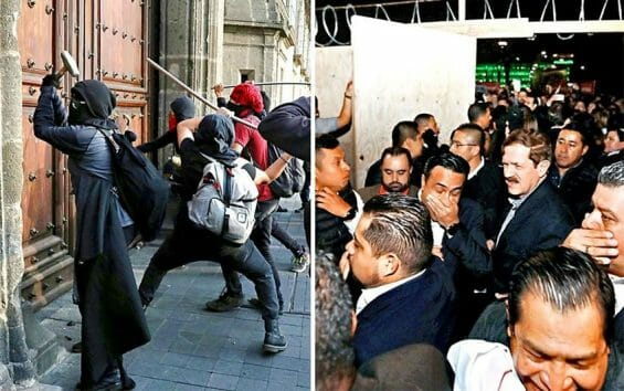 Vandals go to work on palace, left, and tear-gassed mayors.