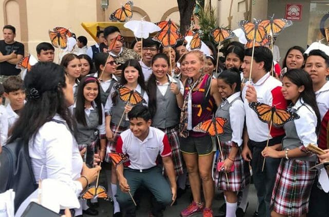 James visits with students in Reynosa.