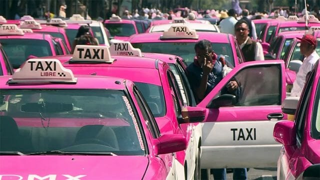 Protesting taxi drivers in Mexico City.