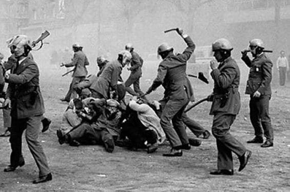 Armed forces attacked civilians during a 1968 protest against the Mexico City Olympics.