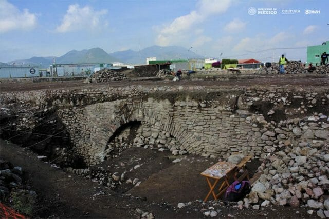 The tunnel site were archaeologists have been working