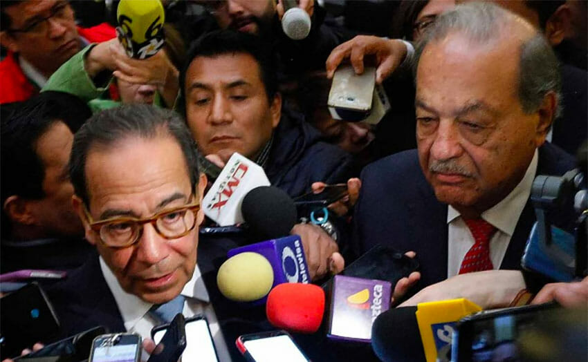Salazar, left, and Slim are upbeat about Mexico's economic prospects.