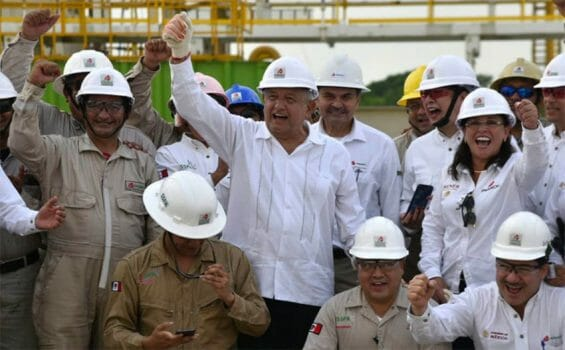 Cheering news: López Obrador celebrates oil discovery with Pemex workers in Tabasco.