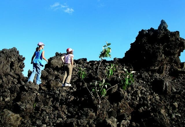 Walking on volcanic rubble is anything but easy.