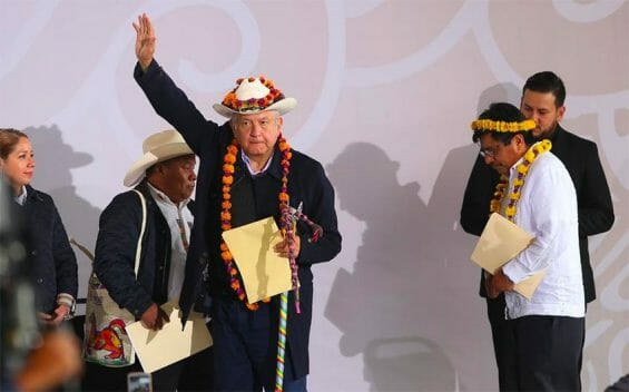 AMLO meets with an indigenous community in Puebla on Saturday.