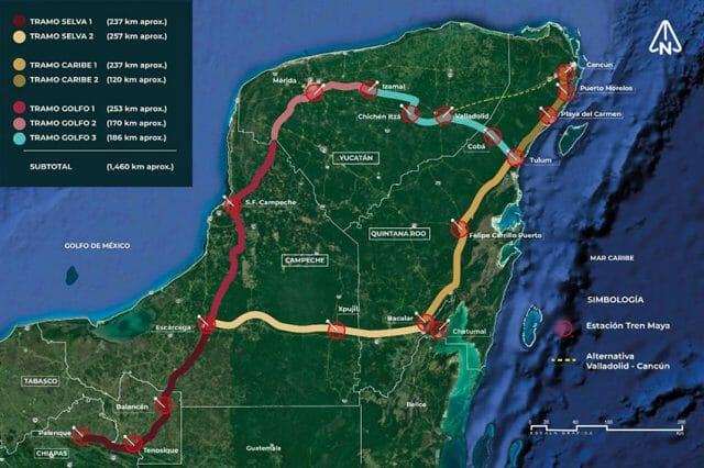 The route of the Maya Train.