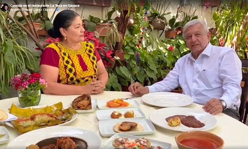 'With healthy distance, we can continue socializing,' AMLO advised.