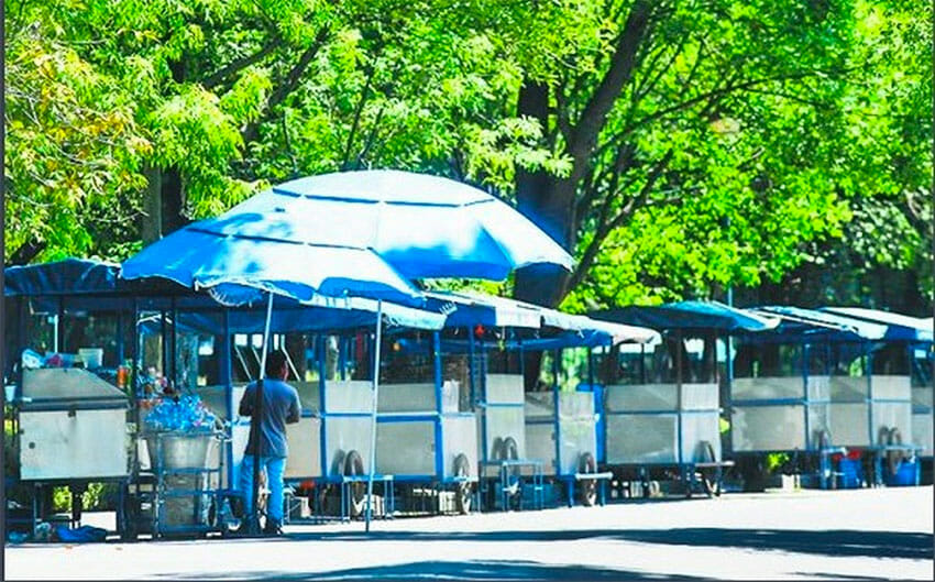 Deserted food carts in Mexico City's Chapultepec Park.