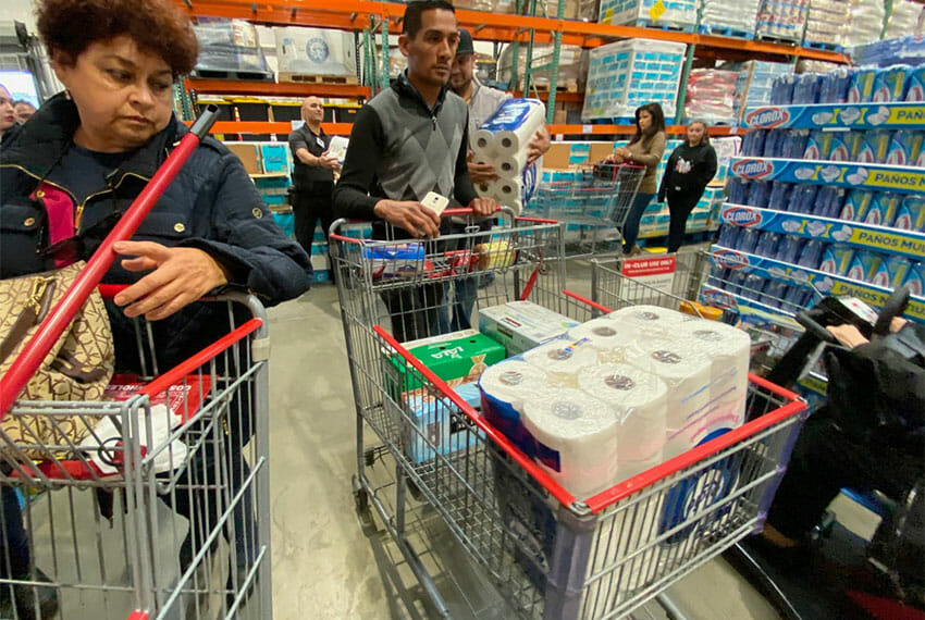 Shoppers have been stocking up on toilet paper in northern cities.