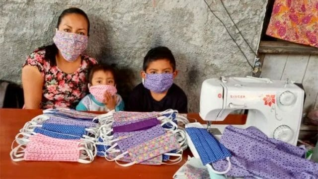 Seamstress Inéz López Hernández and her helpers in Tlacolula.
