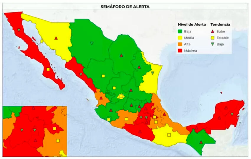 The new color-coded map shows the alert level and a trending indicator by state.