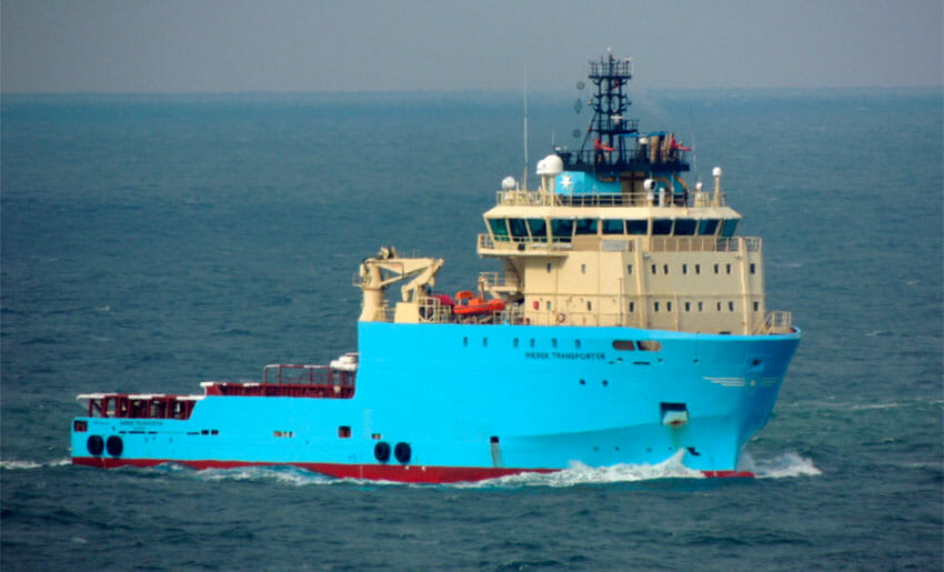 The Maersk Transporter was looted April 12.