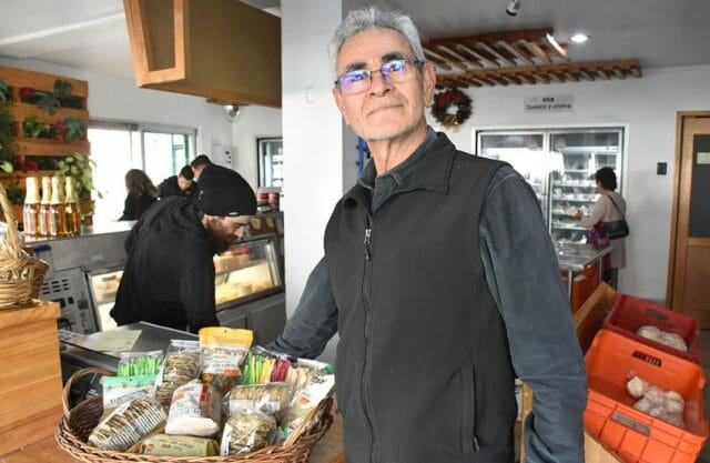 Samuél Rosales in his Chipilo cheese store.